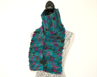 Hand Painted Hand Knit Scarf, Thick Warm Winter Scarf, Men or Women