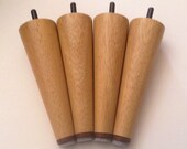 """Solid Genuine Teak  Mid Century Style Replacement Sofa Legs. Fits ikea Karlstad and Other Styles  5 7/8"""" High Set of 4."""