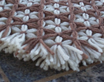 Retro Woven Kitchen Trivet, Brown Taupe, Yarn Hot Pad, Yarn Serving Mat, Yarn Trivet, Woven Mat, Brown Hot Pad, Daisy Flower Trivet, Flowers