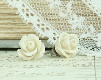 Cream Rose Earrings Cream Flower Studs Rose Stud Earrings Cream Rose Studs Surgical Steel Studs