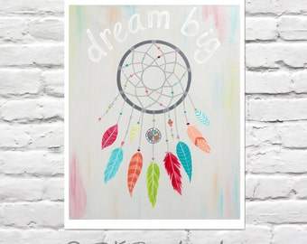 Dream Big Inspirational Girls Wall Art -Catch Your Dream 8x10 Print- Art for girls room - dream catcher - wall art for teens