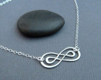 infinity necklace. sterling silver double infinity necklace. small. simple figure eight. delicate. dainty zen jewelry. infinite love for her