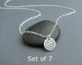 "bridesmaid necklaces. Set of 7 - tiny circle necklaces - sterling silver hammered disc. modern. simple. dainty. delicate. 3/8"". gift set"