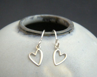 """tiny sterling silver heart earrings. leverback dangles. open wire heart. everyday jewelry. sterling drop earrings. simple gift for her 1/4"""""""