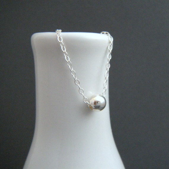 """sterling silver bead necklace. tiny round small dainty petite ball simple gift. delicate everyday minimalist jewelry. 16"""" shiny 6 mm bead."""
