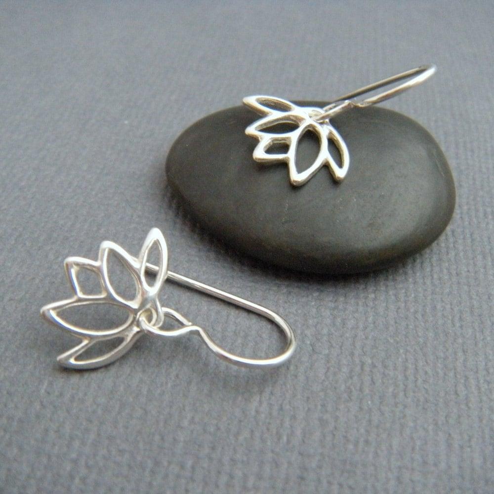 tiny silver earrings downward lotus flower earrings sterling