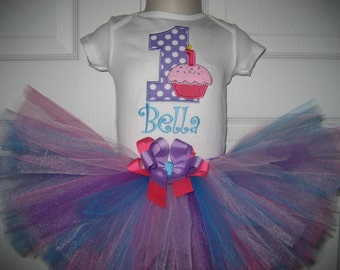 Baby girl cupcake birthday tutu set, pink and purple tutu set, first birthday, cupcake outfit, cake smash