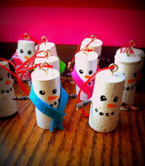 Recycled wine cork snowman ornament with scarf by picklesart