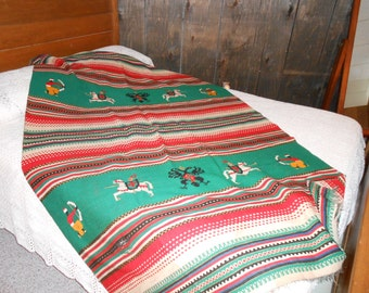 Reduced to 72 Wool warrior aztec blanket hand loomed