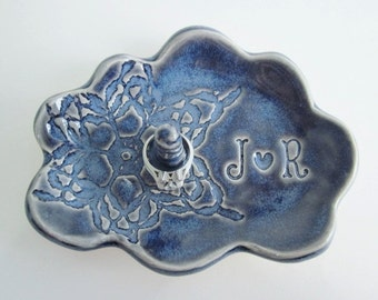 Blue ring dish, Mr.and Mrs., personalized ring holder, ceramic gift, Fine art, Made to Order