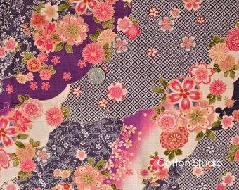 Japanese Fabric Kimono Floral Yuzen Purple Fat Quarter