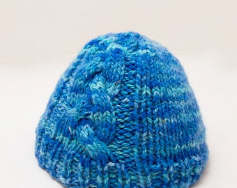 Luxe Newborn Blue Cabled Alpaca Cormo American Hand knit Hat