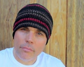men's black hemp beanie/ cranberry stripe crochet- made to order