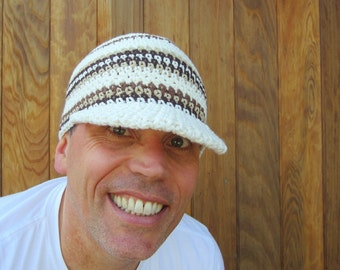 mens cotton visor beanie/ cocoa cream crochet