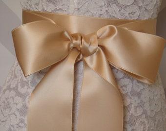 CHAMPAGNE Ribbon Sash, Wedding Sash, Bridal Sash, Satin Sash beige SWISS SATIN - 2.75 inch width