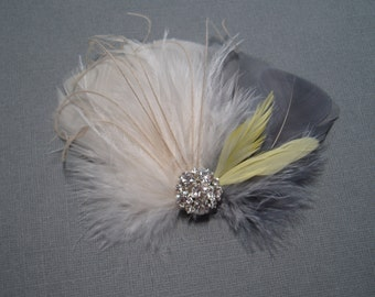 Wedding Bridal Hair Accessories Brides Feather Fascinator GREY YELLOW Feather Hair Piece Hair Clip