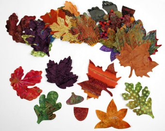 Batik Fabric Applique Iron on Autumn Leaves, Fall Leaves, Maple, Oak, Acorns - 24, 32, 40 or 48 pieces, Gold, Rust, Green, Brown