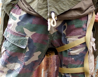 Men's Handmade military camo cotton pants with concertina knee panels and holster. Made from reclaimed pants- size 36 inch waist