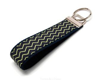 Cute Navy and Lime Green Chevron Fabric on Navy Blue Webbing Key Fob Keychain