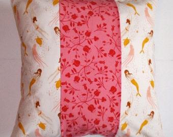 "Throw Pillow Cover, Mermaid Pillow,  Mermaid Patchwork Pillow, Mermaids in Pink Throw Pillow Cover, Assorted Designer Fabrics, 18x18"" Square"