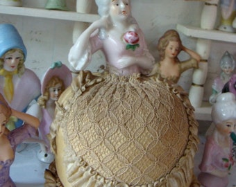 Antique German Porcelain Pin Cushion half Doll with Stunning handmade skirt The Belle of the Ball