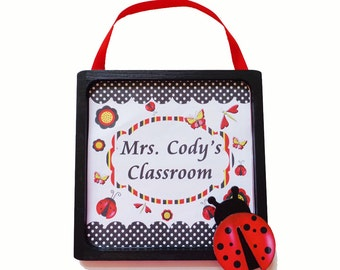 Teacher Gift Wooden Framed Door Sign Personalized Ladybug