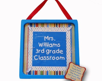 Teacher Door Sign Personalized Wooden & Framed Retro