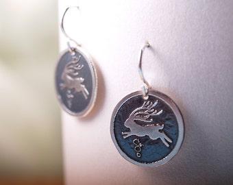 Sterling etched Jackelope earrings