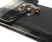 iPhone wallet - black and gray vintage wool