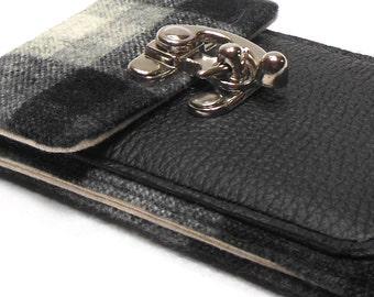 iPhone wallet - black and gray vintage wool