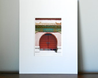 Red Doors Print, Asian Art Matted Prints, Forbidden City Red Wall Decor, Pink Asian Decor, Red Wall Art, Chinese Travel Photography, 5x7