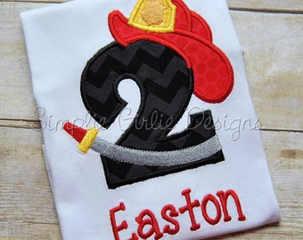 Custom personalized fire fighter birthday shirt. Sizes 12m to youth medium. Other sizes, colors and fabrics available.