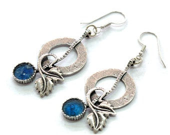 Blue Roman Glass Vintage Earrings, 925 Silver Bold Earrings, Romantic Jewelry Gift, OOAK, Artisan Earrings, Bohemian Floral Earrings, Retro