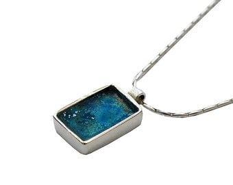 Roman Glass Small Pendant, Sterling Silver Pendant, Rectangle Pendant, Blue Roman Glass Pendant, Israel Jewelry, Glass Jewelry, Unique Gift