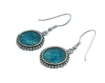 Blue Roman Glass Classic Earrings, Round Roman Glass Earrings, Sterling Silver Earrings, Israel Jewelry, Dangle Earrings ,Boho Chic