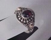 Genuine GARNET ~ Sterling Silver ~ 14KT Gold Plate Ring ~ Size 7 3/4