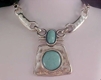 NATIVE AMERICAN Hand Crafted ~ Turquoise Glass Bezel Cabochons~Silver Plate & Leather Chain Necklace/Choker