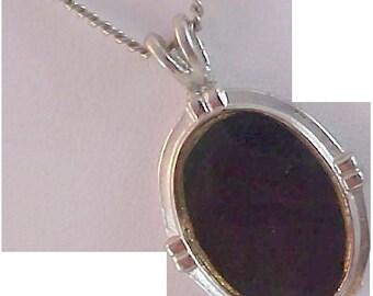 REDUCED~ROSECRAFT Designer ~ Black Onyx Cabochon~ Silver Plate Setting Pendant & Chain