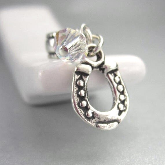 Horseshoe Charm in Sterling Silver for European Bracelets, Cowgirl Jewelry, Horse Shoe