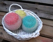 Decorative Balls Wicker Basket with Turquoise Yellow Coral Beach Sand Cottage Shabby Chic Decor Ocean Sea Nautical Boho Distressed