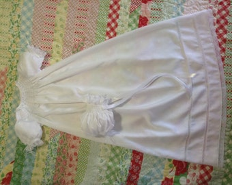 Ready to Smock MadeTo Order Satin Batiste Christening Gown with Bonnet
