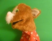 Cute Tan Kitty with White Whiskers in Red Hot Cocoa Shirt Hand Puppet
