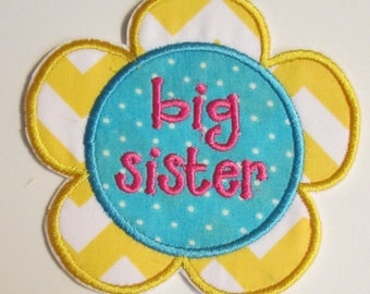 Sibling Iron On Applique - Little Sister, Middle Sister, Big Sister  READY TO SHIP in 3-7 Business Days