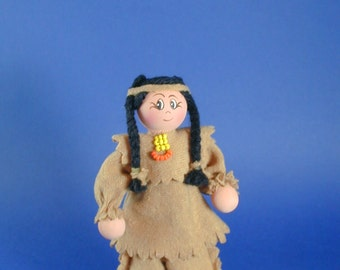 Native American Boy Clothespin Doll; First Nation Clothes Pin Doll; Indian Boy Clothes Pin Doll