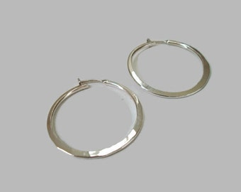 Sterling Silver Hammered Continuous Hoop Earrings Large