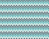 Blue Chevron Indie Chic Fabric - Riley Blake