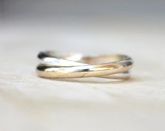 Bridesmaids Gift | Double Band Trinity Ring | Bridesmaids Jewelry | Russian Wedding Band | Double Bands [Infinity Ring]