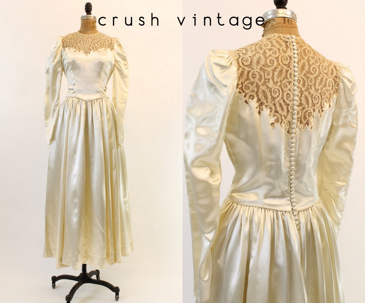 40s Wedding Dress Silk Charmeuse Medium 1940s Lace Bridal