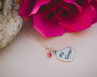 Big Sister new baby welcome sterling silver heart necklace with a birtstone/pearl