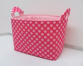 LARGE Fabric Organizer Basket Storage Container Bin Bucket Bag Diaper Holder Home Decor- Size Large - Ta dot pink